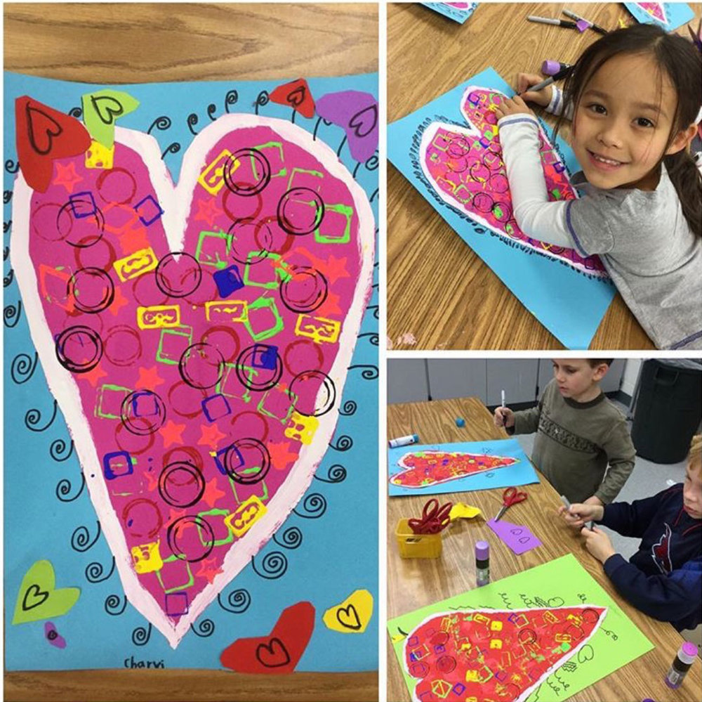 Stamp print hearts, kindergarten