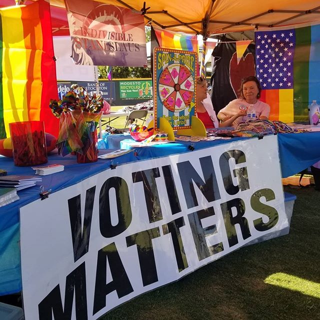 Huge thanks to the dozens of volunteers who turned out today to staff the MoPride booth today! It was a seamless partnership with our club, Indivisible Stanislaus and Modesto Progressive Democrats.