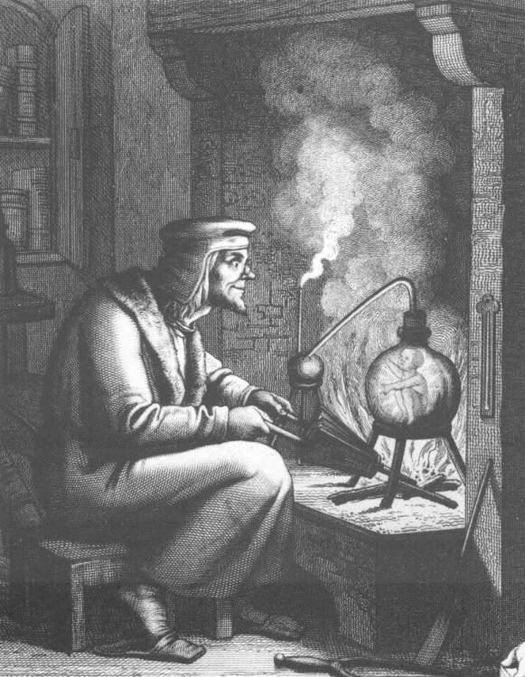 THE ALCHEMIST AT WORK CREATING A HOMUNCULUS