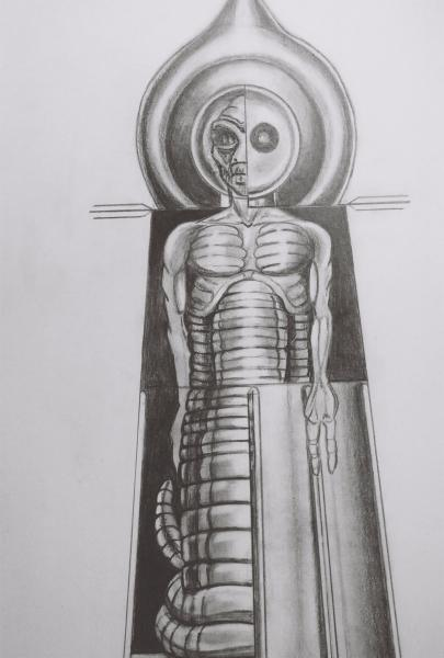 Artist rendition of the suit worn by the Flatwoods Creature