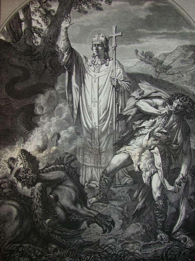 St Romain, murderer, and gargouille, 1862 engraving, public domain.jpg