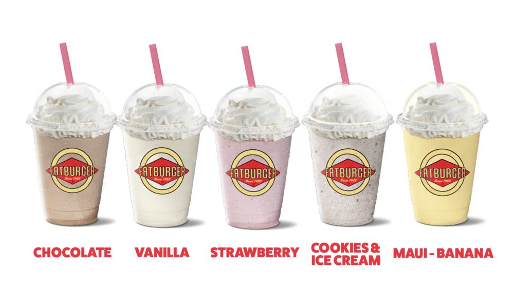 Chocolate Shake, Vanilla Shake, Strawberry Shake, Oreo Cookies & Cream Shake, Maui-Banana Shake
