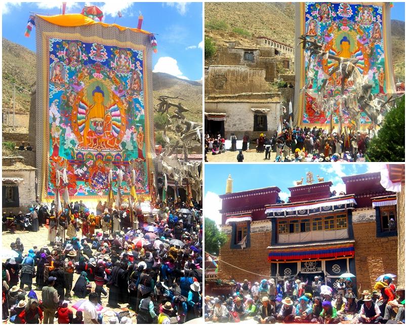 The giant Buddha Sakyamuni's thangka being unfolded at Dechen Choekhor Tibet.