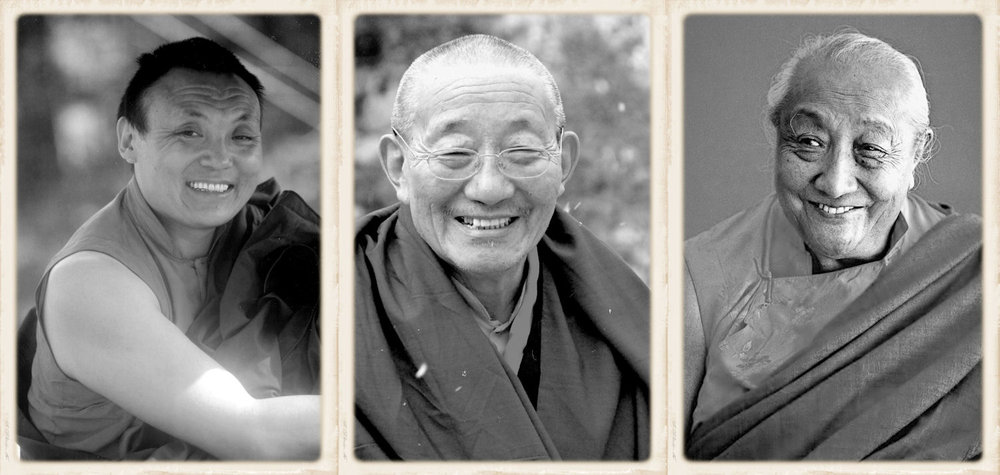 The three root-gurus of present Drukpa Choegon Rinpoche (from left: The 8th Kyabje Khamtrul Rinpoche, The 8th Kyabje Adeu Rinpoche & H.H. Kyabje Dilgo Khyentse Rinpoche)