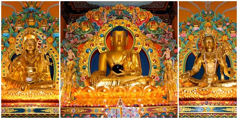 The three main giant Buddha's statues of Dechen Choekhor (from left): The 21ft Guru Rinpoche; the 31ft Buddha Sakyamuni, and the 21ft Green Tara.