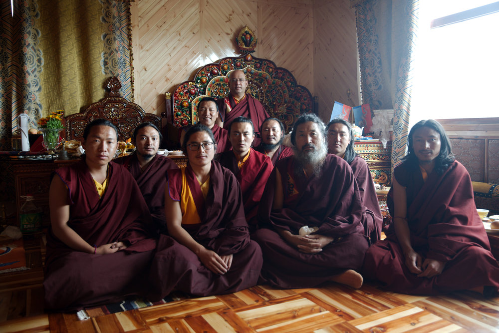 Choegon Rinpoche bestowing special empowerment to monks on long-term retreat.