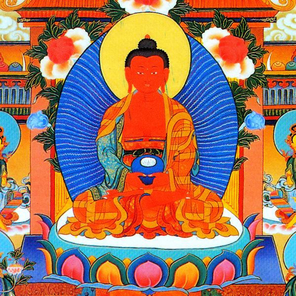 Amitabha Buddha, Öpamé འོད་དཔག་མེད་ or Nangwa Tayé སྣང་བ་མཐའ་ཡས་ in Tibetan