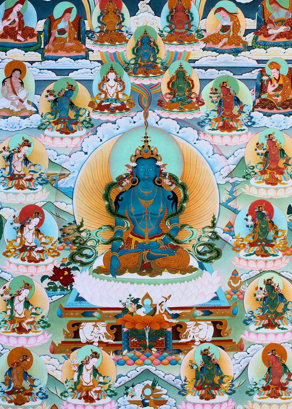 Buddha Akshobhya in Sambhogakaya form - a Dechen Choekhor's Buddha Akshobhya Thangka created according to the sacred vision of the late 8th Kyabgon Adeu Rinpoche