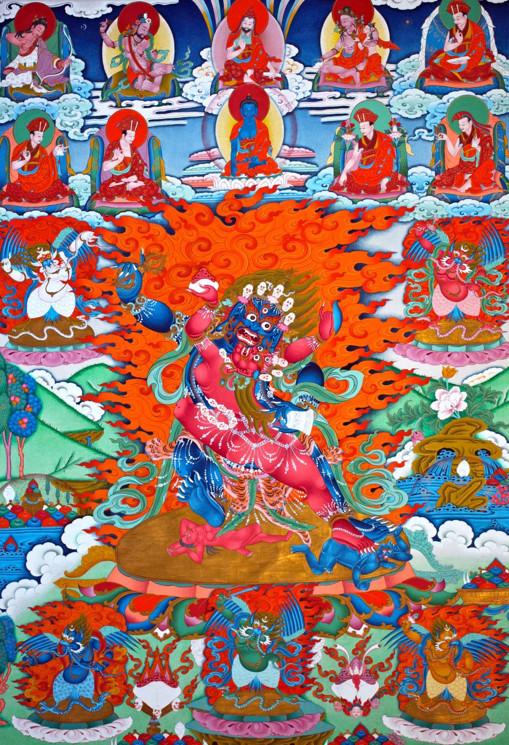 Dechen Choekhor's wrathful Vajrapani thangka