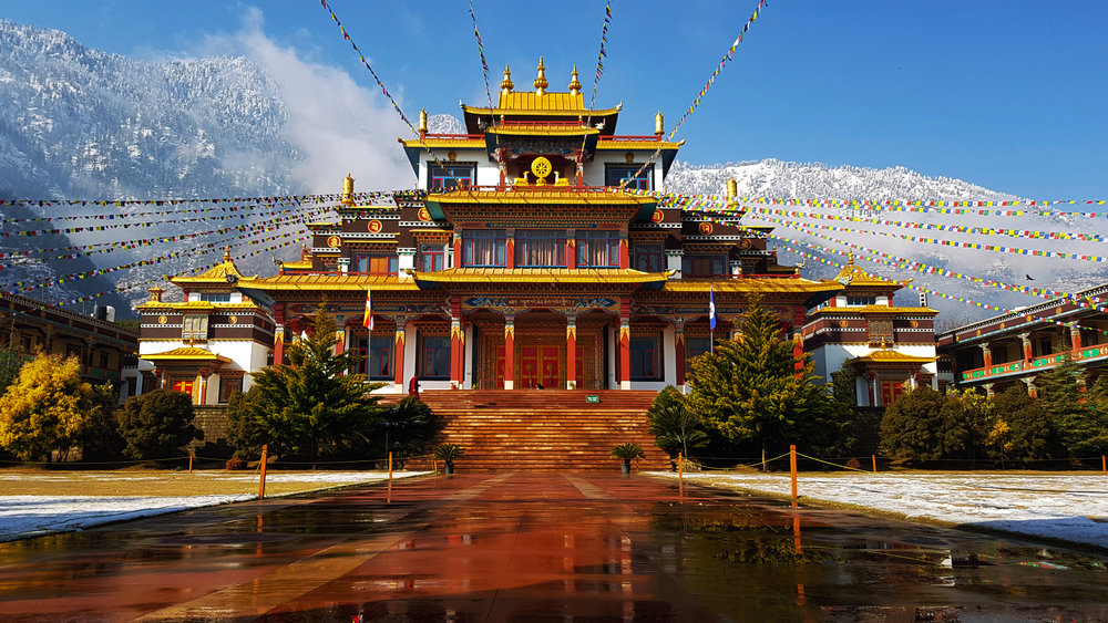 Dechen Choekhor Mahavihara and its surrounding mountains were covered with snows during winter.