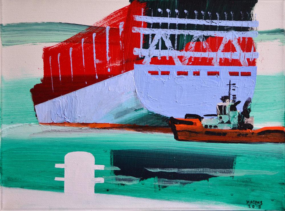 Tugs in action #2 | 30 x 40 cm | Acrylic paint and emulsion (aluminium framed) | Damen Shipyards | 2018 | Sasja Hagens (c).jpg