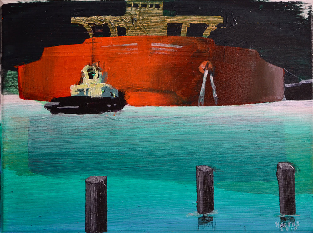 Tugs in action #1 | 30 x 40 cm | Acrylic paint and emulsion (aluminium framed) | Damen Shipyards | 2018 | Sasja Hagens (c).jpg