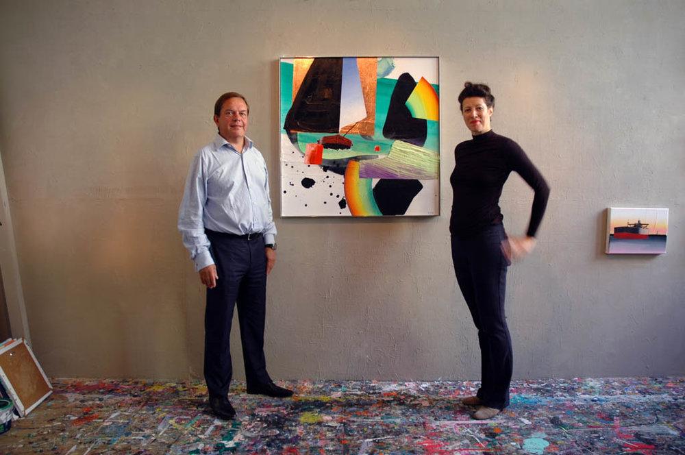 Schilderij Friesland in atelier | 100 x 100 cm | Acrylic paint, medium, gold leaf on canvas (incl. aluminium frame) | Hari Dattatreya | Sasja Hagens.jpg