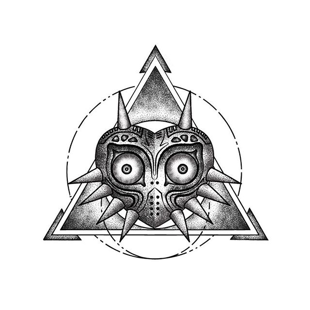 A recent commission to illustrate a tattoo inspired by the 'Majoras. Mask.' Always fun to work with a new style and new techniques in Illustrator.
