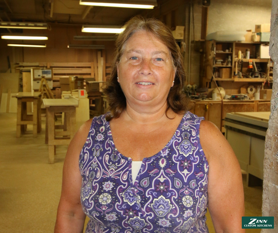 Janet - You can find Janet installing drawers, pullout shelves, and pull out waste baskets in your cabinets. She also specializes in glazing for the finish room.