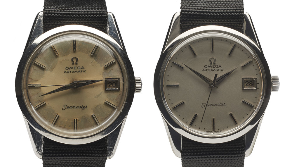 A water damaged automatic OMEGA Watch. Before & after servicing at AMJ Watch Services.
