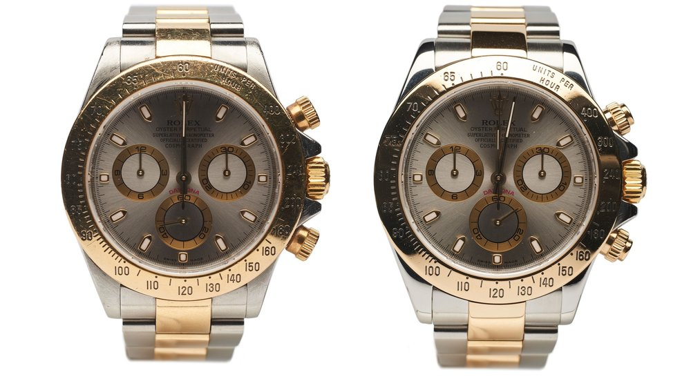 Before & after the servicing of a Rolex Daytona at AMJ Watch Services, London's leading experts in watch repair located in the historic jewellery district, Hatton Garden.