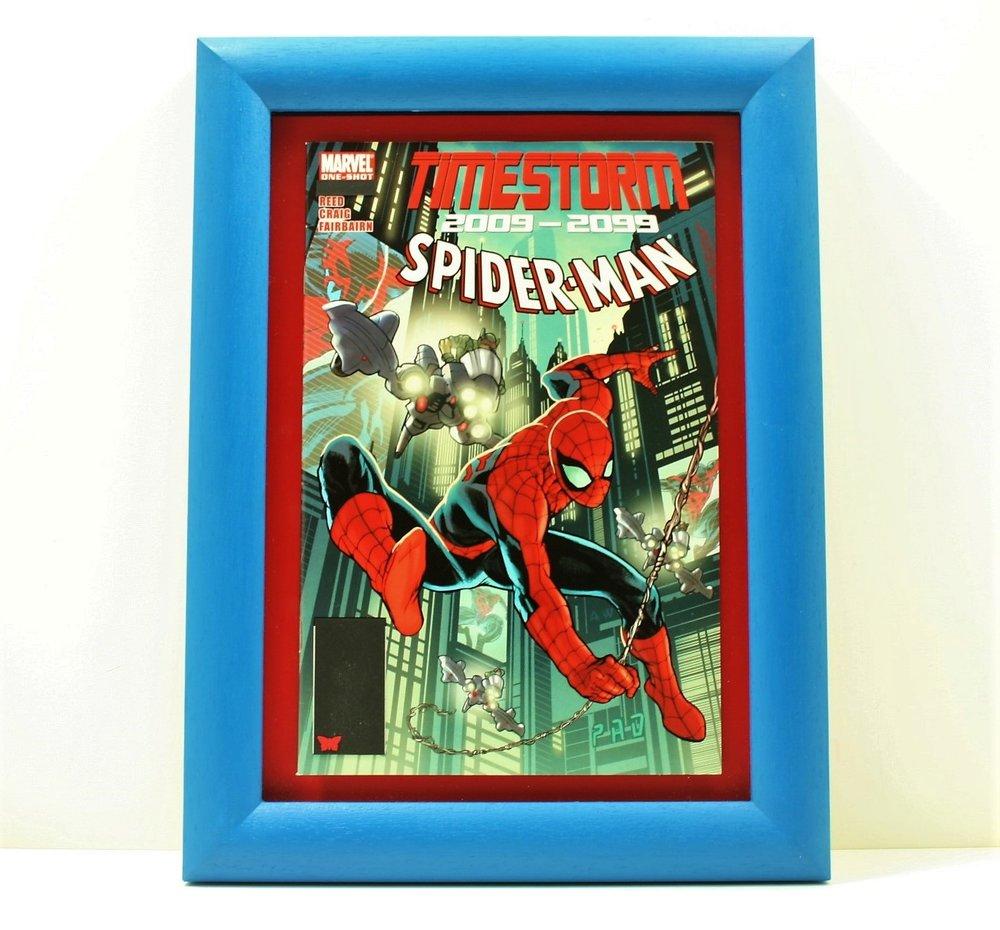 framed comic book art spiderman