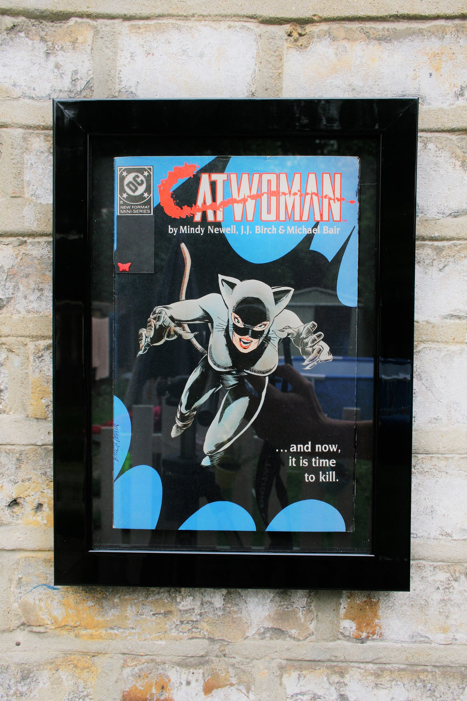 catwoman framed comic book art