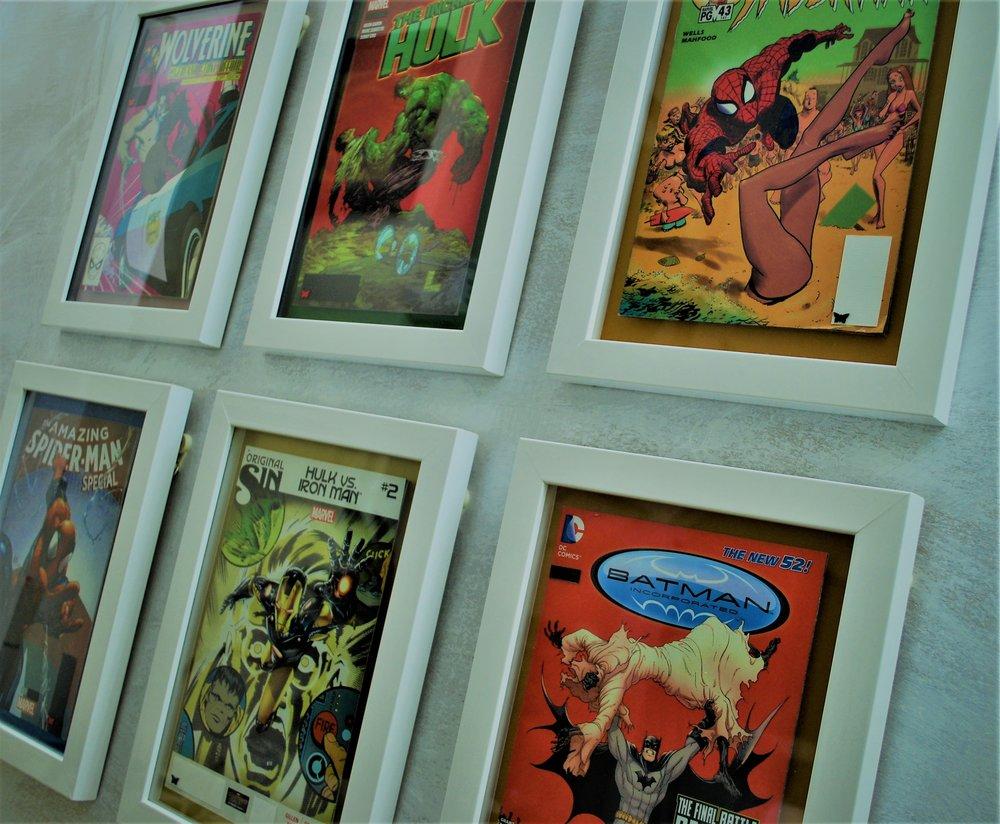 comic book artwork framed