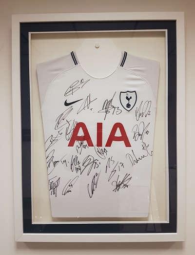 framed signed tottenham hotspur shirt