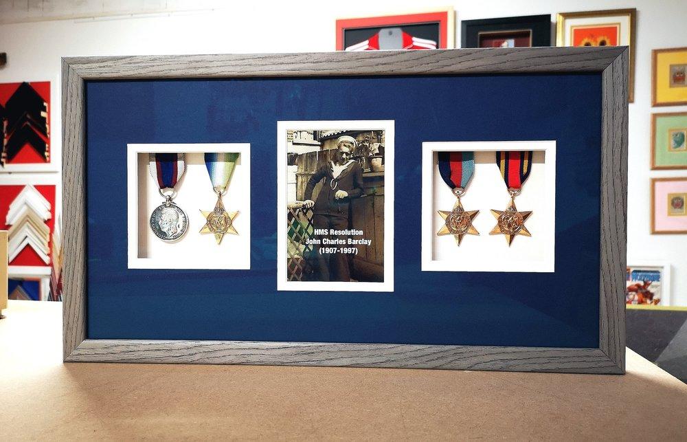 framed navy medals memorabilia