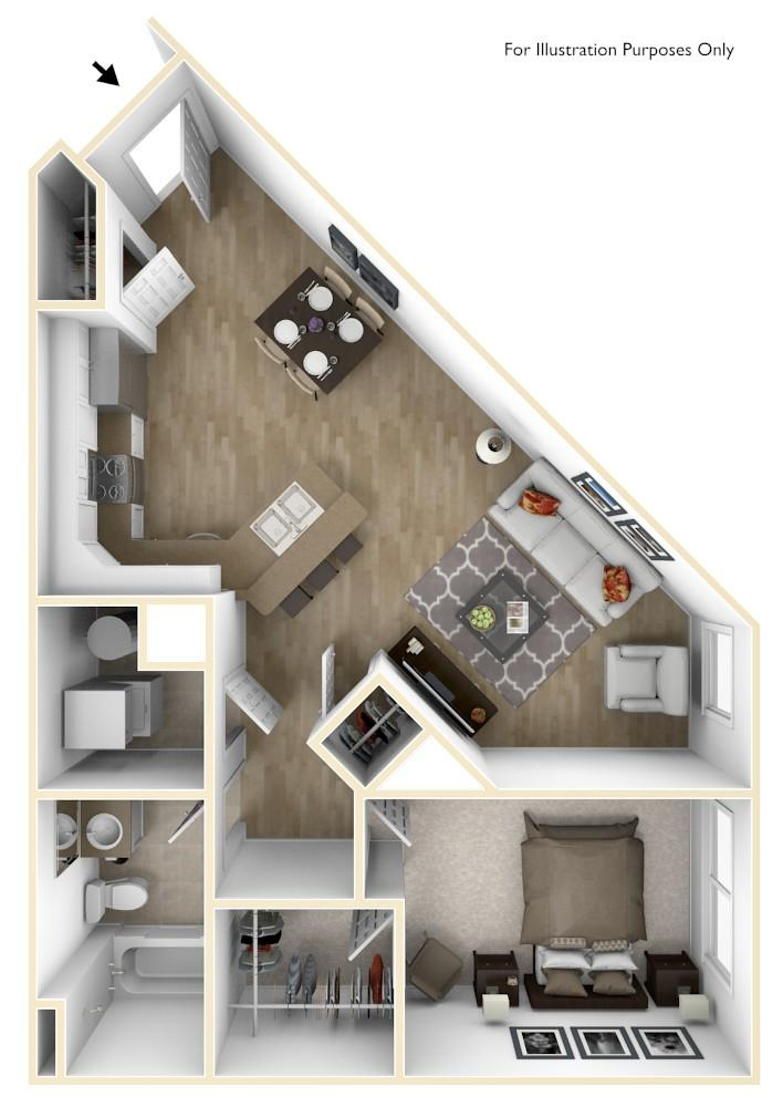 A1 | 1 Bedroom | 760 Square Feet
