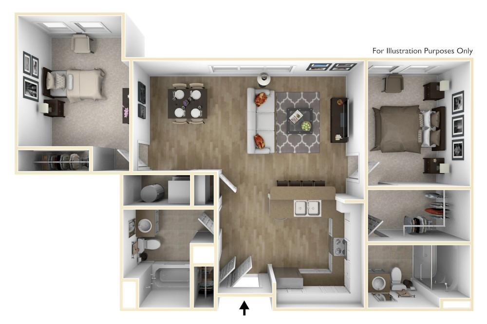 B6 | 2 Bedroom (Opt.2) | 1,028 Square Feet