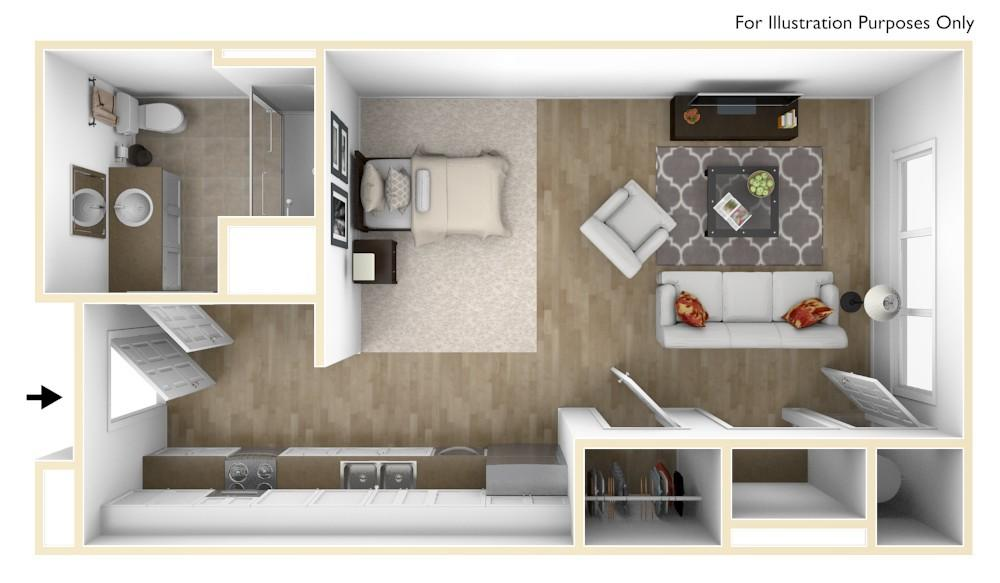 S1 | Studio | 526 Square Feet