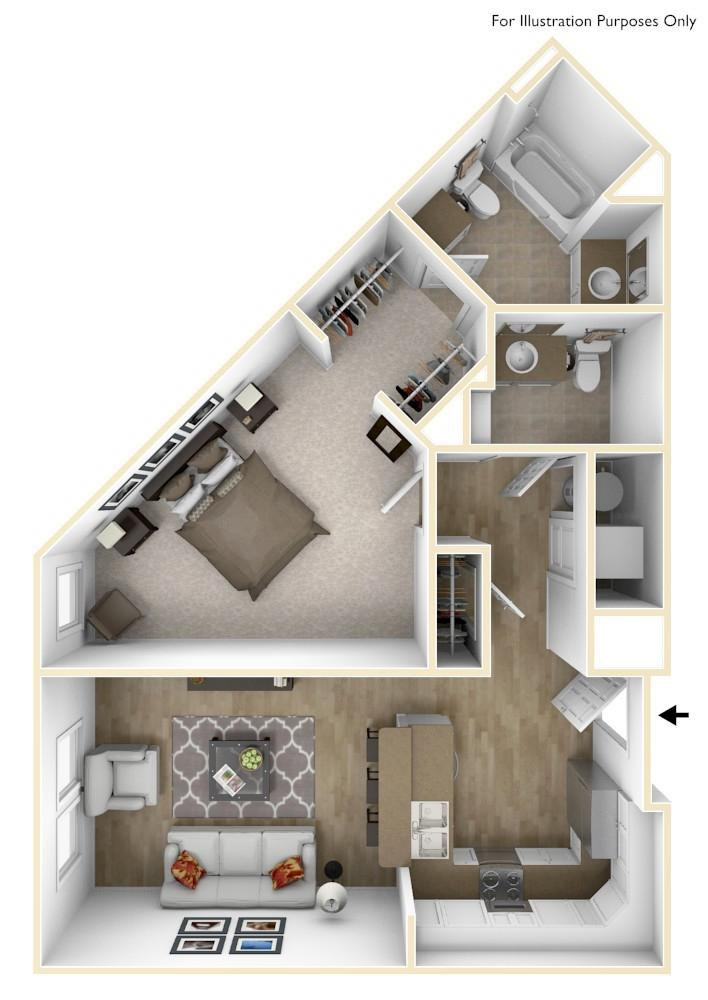A4 | 1 Bedroom | 1.5 Bath | 760 Square Feet