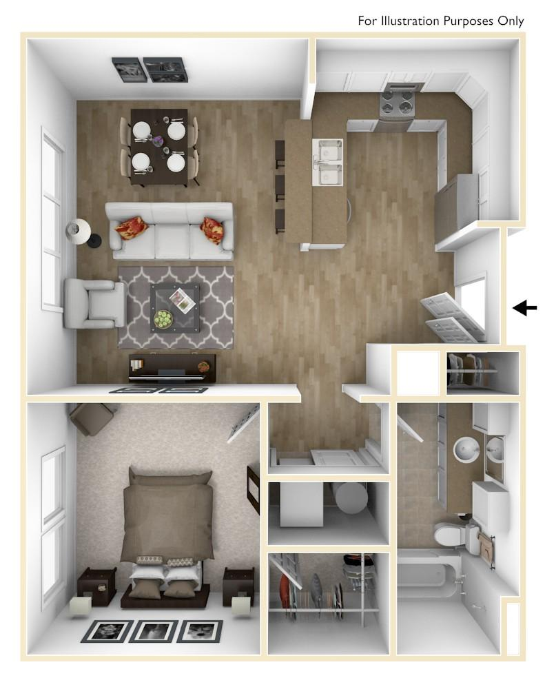 A2 | 1 Bedroom | 762 Square Feet