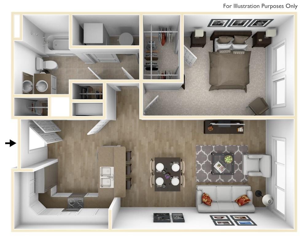 A3 | 1 Bedroom | 744 Square Feet