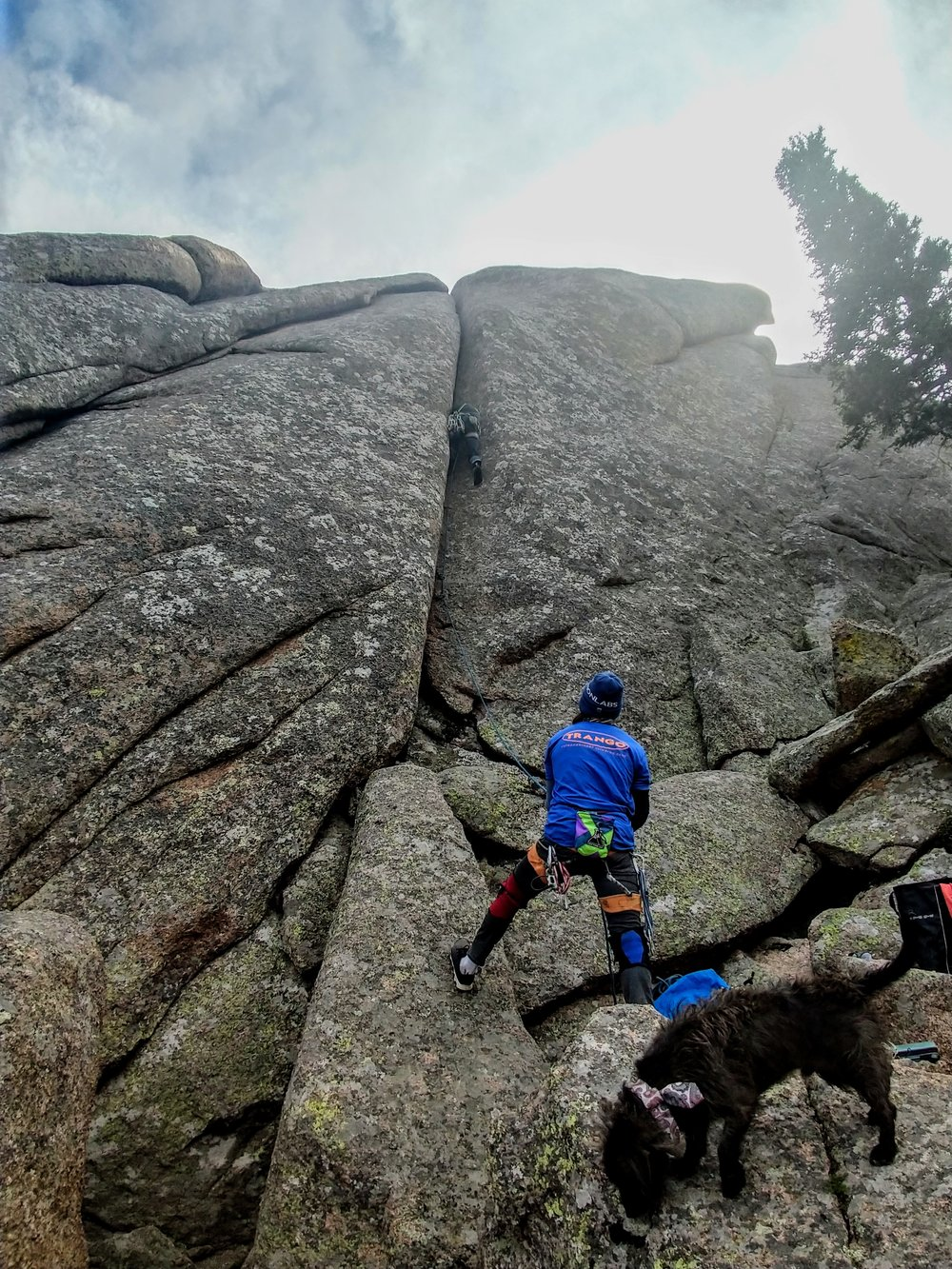 J.D. climbing the line at the strawberry Patch in Vedauwoo, WY. Devin Fin on the belay - Pelé on the sniff.