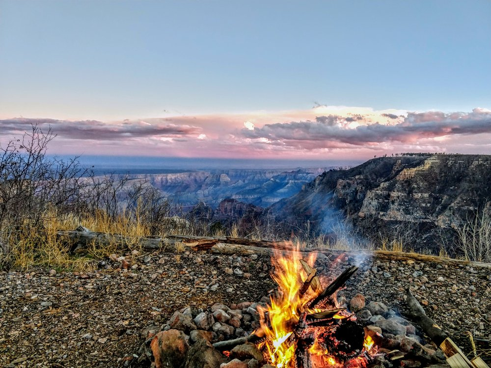 We camped here for an evening. Not a single soul was within miles of us. We watched a spectacular storm develop and play out over the South Rim. Lightning, high winds and heavy rain were mercifully far away. After the coldest night of our trip so far, we woke up to frozen water lines and sub-zero temperatures. Grand Canyon, North Rim