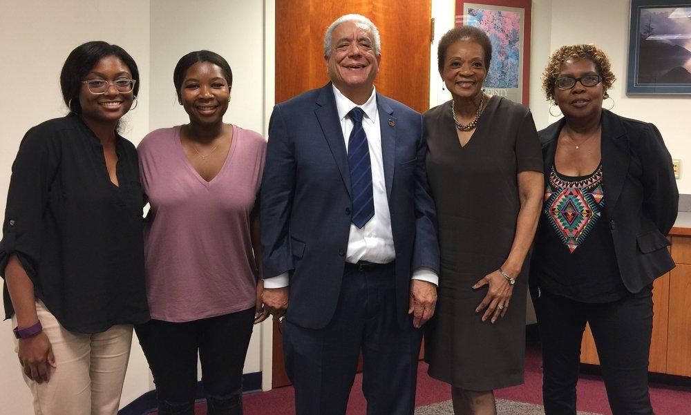Creative coordinator Mykella Palmer, researcher Nqobile Mthethwa, Knox Tull, Dean Elsie Weatherington, and historian Francine Archer.