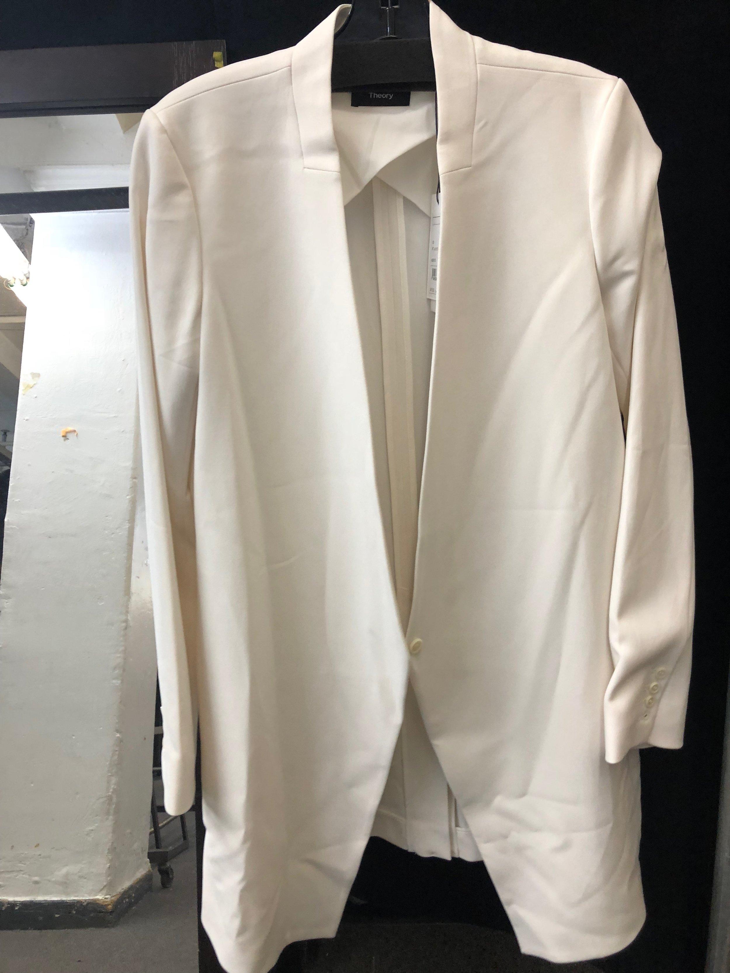 e6b6c4e282 Shop Theory White Long Blazer from Theory + Helmut Lang January 2018 ...