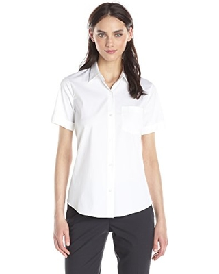 Shop Theory Short Sleeve Cotton Button Down Blouse From Theory