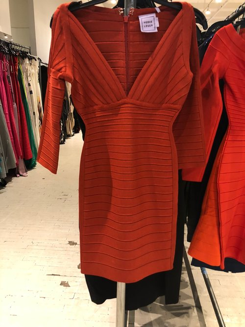 Herve Leger Kayann Dress In Color Rustic Red