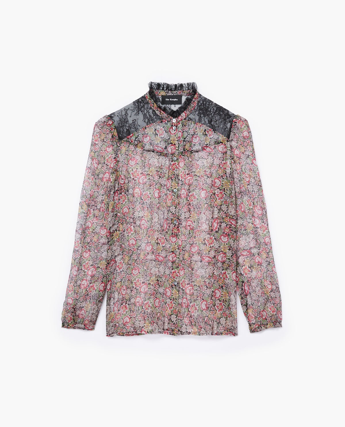 b2d37e59e8 Shop Kooples Floral Blouse with Black Lace Detail from The Kooples ...