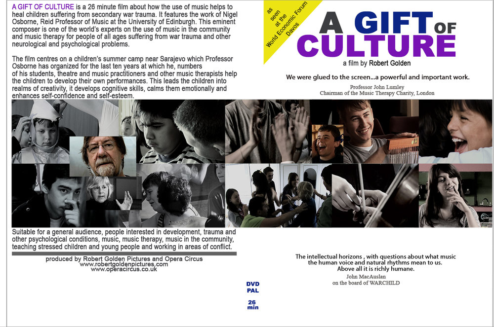 - A GIFT OF CULTURE is a 26 minute film about how the use of music helps to heal children suffering from secondary war trauma. It features the work of Nigel Osborne, Emeritus Professor at the University of Edinburgh. This eminent composer is one of the world's experts on the use of music in the community and music therapy for people of all ages suffering from war trauma and other neurological and psychological problems.This is suitable for a general audience, people interested in development, trauma and other psychological conditions, music and music therapy, music in the community, teaching stressed children and young people and working in areas of conflict.You can see the film here.