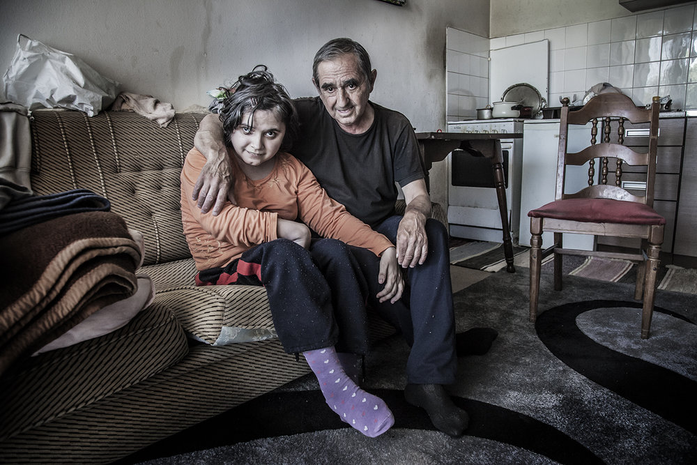 Ill father and disabled daughter in a top floor flat without a working lift Srebrenica BiH  2015