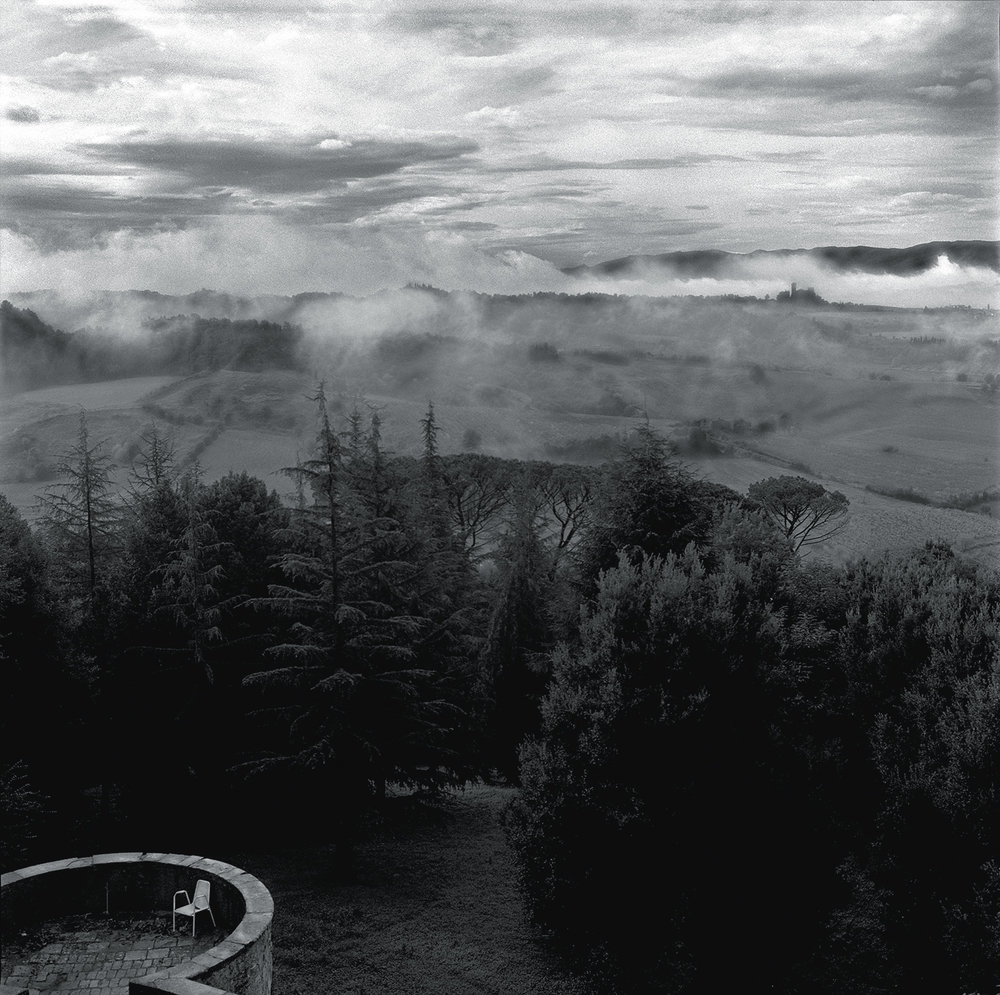 LANDSCAPE, TERRACE AND CHAIR, Tuscany Italy, 1984, photo Robert Golden