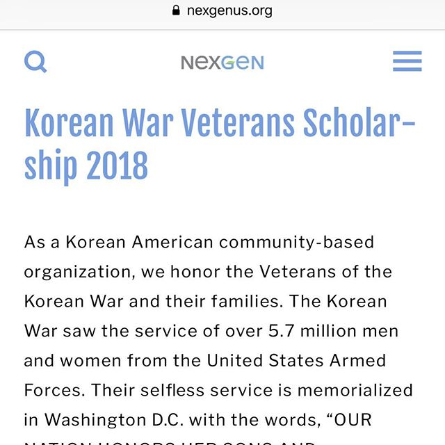 Any descendants of those who served in the Korean War are eligible for a $2000 scholarship. Apply today! Spread the word!