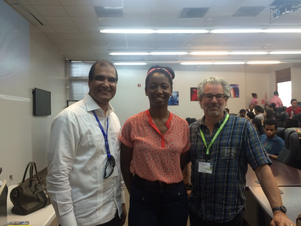Paul Goris from Funglode, Marie-Ange Magloire, Translator and Paul Lazarus at ITLA .