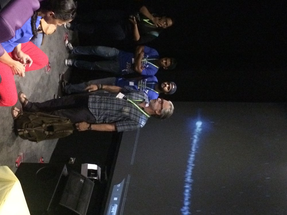 Director Paul Lazarus answers questions at the Colonial Gate Theater in the Dominican Republic.