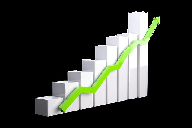 Chart with green upward arrow depicting improvement.