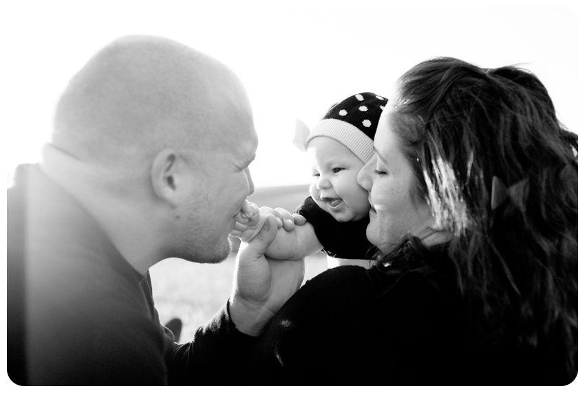 black and white family baby image