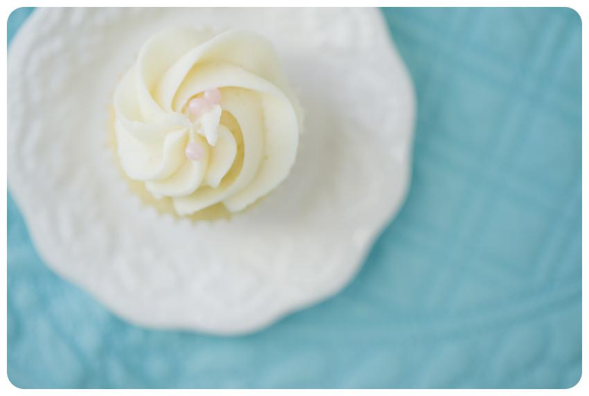 aqua cupcake picture on white plate vanilla