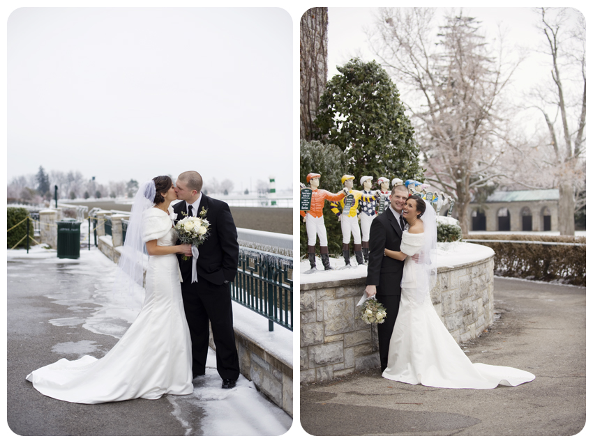 keeneland race course winter wedding fur white bouquet snow jockeys lexington kentucky
