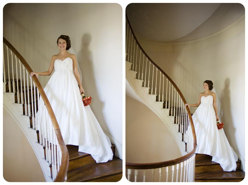 historic spiral staircase bridal portrait lexington orange roses veil white gown